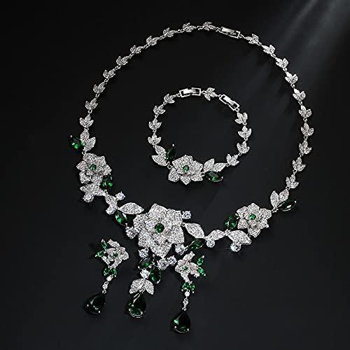 yuge Juego de joyas de plata de ley 925, adecuado para mujeres glamorosas, conjunto de collar de pulsera, regalo de fiesta de boda, color verde