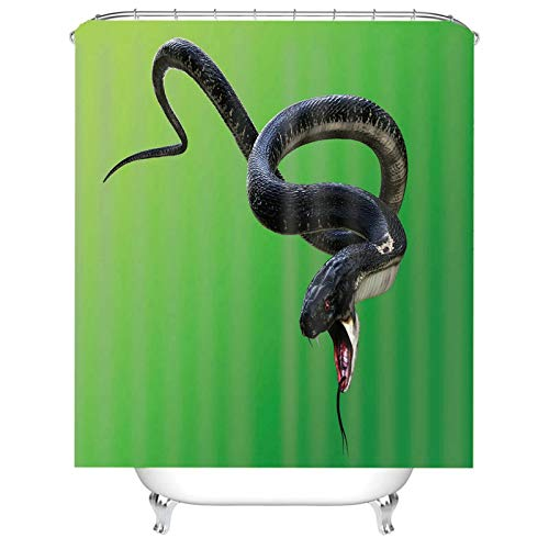 Aeici Badezimmer Duschvorhang Duschvorhang Durchsichtig Waschbar mit Ring,Schlange Duschvorhang 165x180 cm Duschvorhang für Badewanne Schwarz Grün