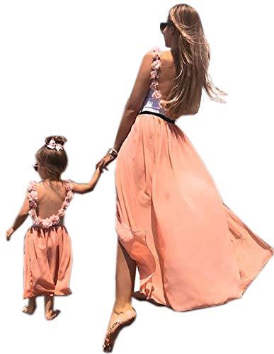 Loalirando Madre e Figlia Abiti Elegante Vestito per Famiglia Top Canotta Senza Schienale con Fiore+ Gonna Tulle per Balletto Rosa