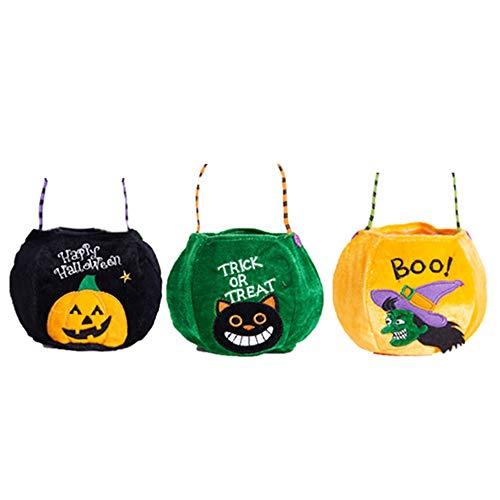 GNSDA Paquete de 3 Mini Bolsas portátiles de Halloween con Truco o Trato, Bolsas de Dulces Reutilizables, Bolsos para Fiestas, Lindos Estampados, Calabaza, Gato Negro, Brujas, con Asas
