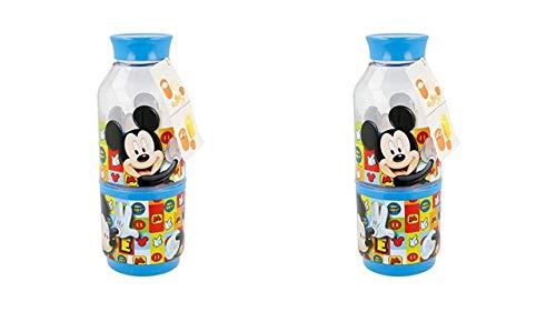 3580; lote de 2 botellas Snack Mickey Mouse; Dos Compartimentos; Capacidad botellas 300 ml; productos reutilizables; Libre BPA
