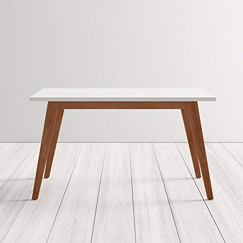 IDS Online Dining Room, Kitchen Farmhouse Style Rustic Wood Rectangular Table Top with Sturdy Metal Legs, Size 51.18L X 27.56W X 29.53H inches, White