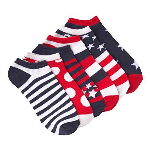 K. Bell Women's 6 Pack Novelty No Show Low Cut Socks, Americana (Red/White/Blue), Shoe Size: 4-10