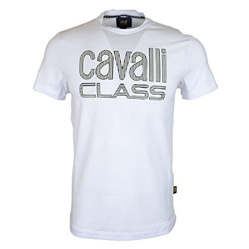 Cavalli Class - Maglietta in Cotone Elasticizzato con Logo Stampato, Colore: Bianco Bianco XL