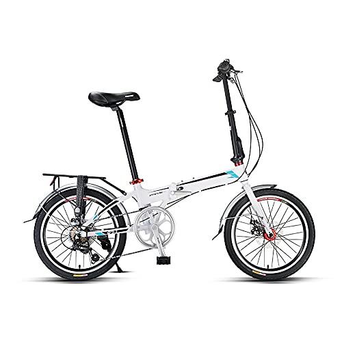 DODOBD Bicicleta Plegable de 7 velocidades 20 Pulgadas, Estructura de Acero con Alto Contenido de Carbono Adecuado para Adultos Adolescentes Estudiante Bicicletas de Ciudad