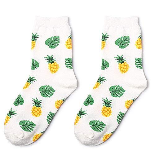 Oulensy 1 Paar Mittlere Schlauch-socken Mit Frucht-Ananas Druck Warm Sport Socken Adult Strumpfwarepinup Für Frauen