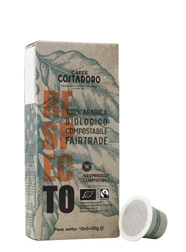 Caffe  Costadoro Costadoro Caffè - Costadoro Respecto, Capsule Compostabili Compatibili Nespresso, Bio, Faitrade, 100% Arabica E Autoprotette, Astuccio Da 10 Capsule - 50 g