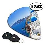 White Architecture Oia Village On Santorini Guitar Pick Up Kit Guitar Pick Pack 6 Pack Gift For Bass, Guitares acoustiques électriques