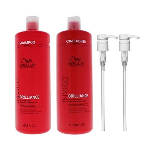 Wella Invigo Brilliance Color Protection Shampoo and Conditioner for Normal/Fine Hair 33.8 Ounce w/ Geti Pumps Set
