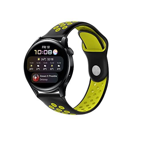 PaceBid Correa Compatible con Huawei Watch 3, Impermeable Ajustable Silicona Reloj de Recambio Brazalete Correas,Suave, Transpirable, Resistente Banda para Huawei Watch 3- (Black-Yellow)
