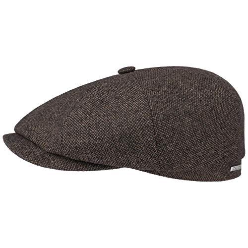 Stetson Casquette Plate Hatteras Wool Mix Homme - Made in The EU Gavroche Laine pour l'hiver avec Visiere, Doublure, Doublure Automne-Hiver - 60 cm Marron