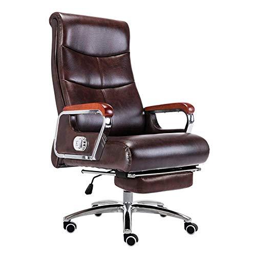 N&O Renovation House Chair Computerstuhl Ergonomischer Executive-Schreibtischstuhl mit hoher Rückenlehne mit Fußstütze Schreibtisch aus Leder Gaming-Stuhl Ledergewebe Höhenverstellbarer