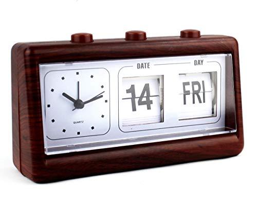 FUREIN Manueller Kalender, Schreibtisch, Wecker, Flip Digital Tag Datum, Woche, Kalender, Schreibtisch, Quarz, Klassische Farben Holz und Mahagoni
