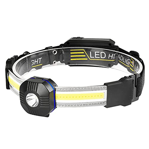 Linterna de cabeza LED recargable, linterna LED COB 1200 mAH IPX4 impermeable para adultos niños, correr, camping, pesca, senderismo, caza, escalada (negro)