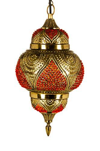 Abidah Oosterse messing hanglamp, 38 cm, E27-fitting, Marokkaans design, hanglamp voor woonkamer, keuken of hangend boven de eettafel