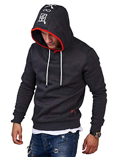 JACK & JONES Felpa da Uomo con Cappuccio Infinity Sweatshirt Hoodie Casual Streetwear (L, Dark Grey Melange)