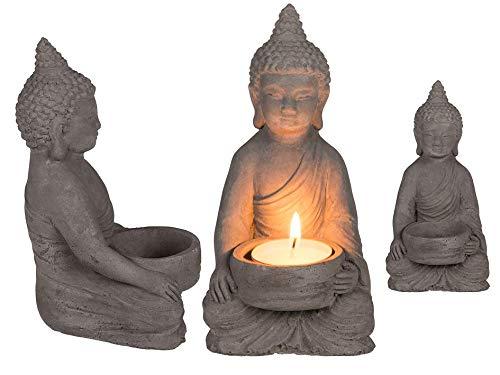 OOTB Teelichthalter aus Zement, Buddha, Grau, 8 x 15,5 cm