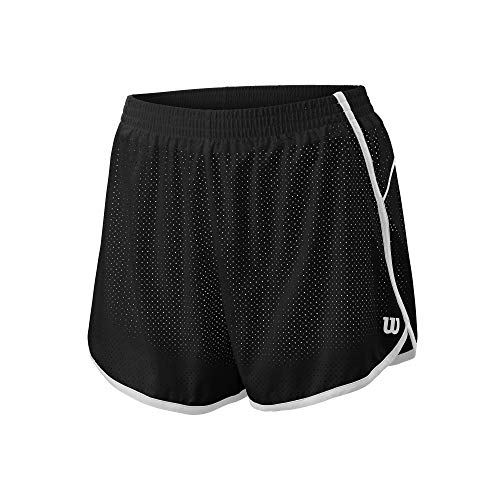 Wilson Mujer Shorts, Competition Woven 3.5 Short, Poliéster/Licra, Negro/Blanco, Talla L, WRA775412LG