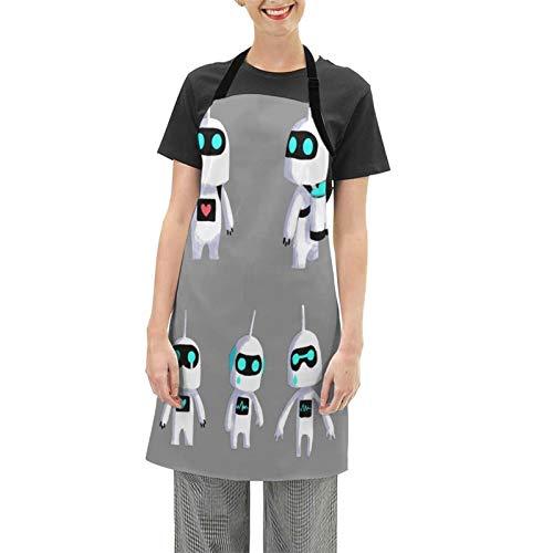 SLAFD - Delantales de astronauta con diseño de robot impermeable con bolsillos para cocina y cocina, diseño de cocinero, divertido y sexy (25.6 x 28.3 pulgadas)