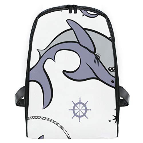 ELIENONO Mochilas Escolares Juveniles,Patrón sin Costuras Que representa el Tema del tiburón...
