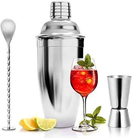 ASANMU Cocktail Kit de Acero Inoxidable, 750ML Cocteleria Profesional Martini Coctelera para Cocteles con Taza Medidora y Cuchara de Bar Kit Cocteleria para Bar Hogar Juego de Regalo para Hombre/Mujer