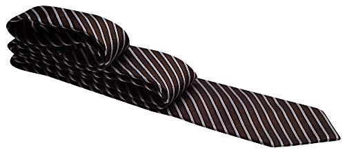 Gravata marrom com listras brancas, lilás e pretas - Tradicional