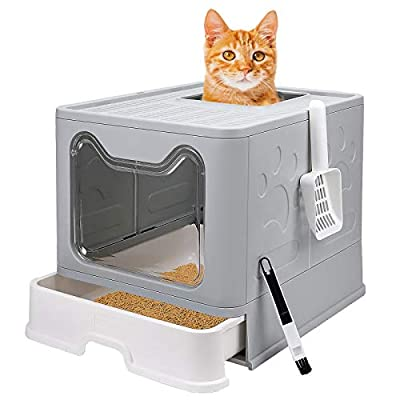 Cat Toilet, Cat Litter Box with Lid Large Foldable Cats Litter Tray(Grey, 51 x 41 x 38 cm)