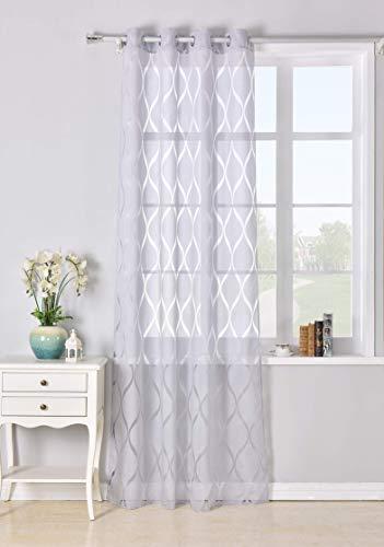 Cortina con 8 ollao translucida de 140x260 para salón, habitación y dormitorio. Modelo Helen (GRIS)