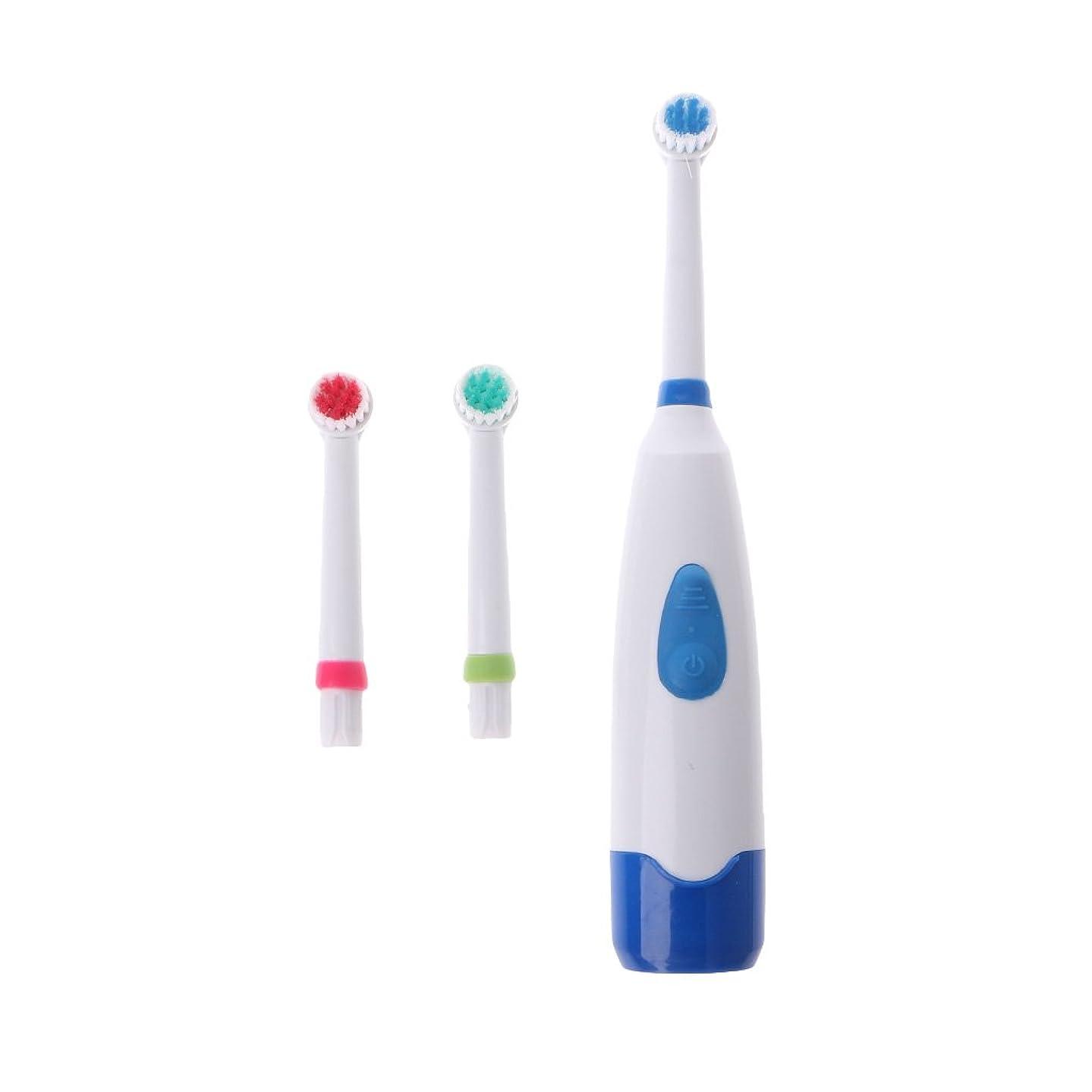 騙す赤ラックManyao 3ブラシヘッドで防水回転電動歯ブラシ (青)