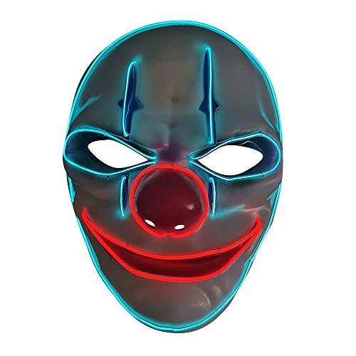 SOUTHSKY LED Mascara Clown Disfraz de Luces Neon Led Brillante Mask EL Wire Light Up 3 Modos For Halloween Costume Cosplay Party