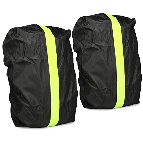 com-four 2x Backpack protection - Waterproof rain cover for school satchel and backpack - Rain cover with yellow reflective stripes