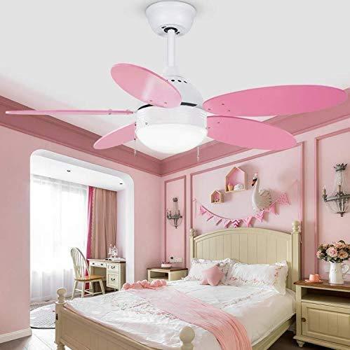 Ventilador de techo LED con luz, lámpara moderna regulable con control remoto, para sala de estar, dormitorio de los niños, ventilador, luces, lámpara de decoración, rosa