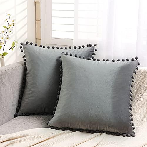 Topfinel Dark Grey Velvet Cushion Covers 18x18 Inch Soft Square Decorative Throw Pillowcases for Livingroom Sofa Bedroom 45cmx45cm,Pack of 2