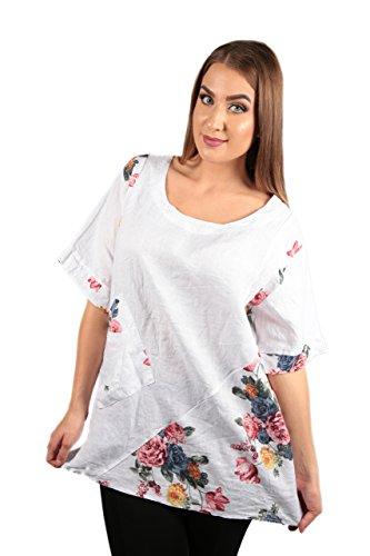 Made Italy Damen Bluse Shirt Tunika Gr. 42 bis 48 aus Leinen mit Blumenmuster in Übergröße (42/48)