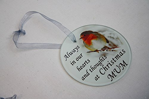 David Fischhoff Robin Christmas Tree Hanging Glass Memorial Ornament - Choice of Relative (Mum)