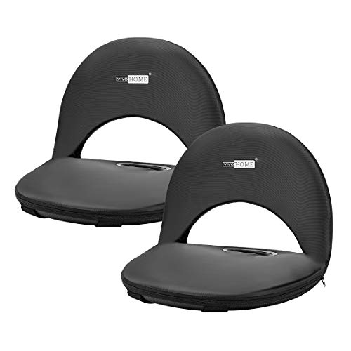 VIVOHOME Pack of 2 Foldable Stadium Seats, 8-Position Reclining Waterproof Cushion Chairs for Bleachers with Storage Pocket, Shoulder Carry Strap