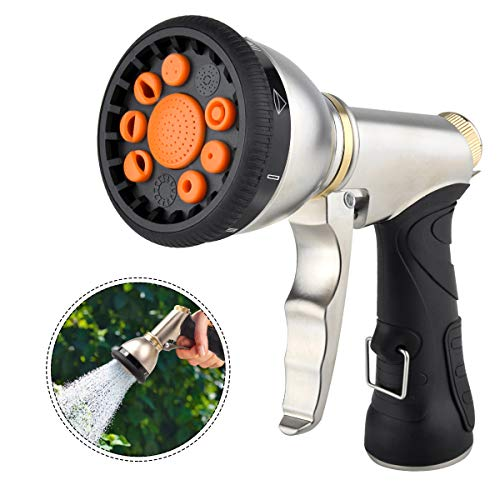 Garden Hose Nozzles 9 Adjustable Patterns Hose Spray Nozzle Heavy Duty Metal Hose Nozzle Spray Gun Slip Resistant Water Sprayer for Cleaning/Watering Lawn Garden/Pets Shower /Car Washing
