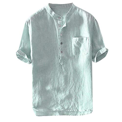 Amphia Herren Leinenhemden Sommer Kurzarm Tops Bluse - Men Leinen Baumwollhemd Button Down Shirt - Herren Kurzarm Henley Shirt