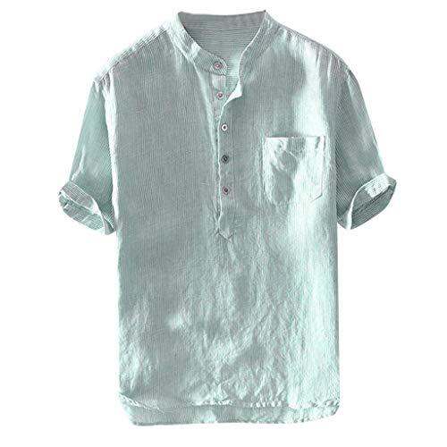 TUDUZ Camisetas Hombre Manga Corta Camisas de Algodón y Lino a Rayas Botón con Bolsillo Superior Top Ropa de Cuello V (Verde XXXL)