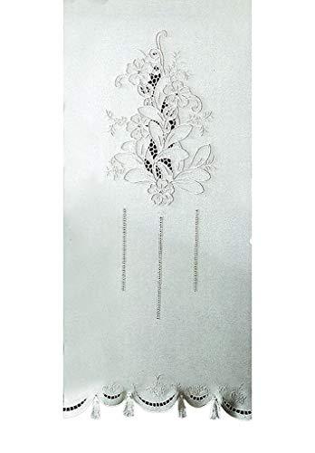 Zenoni & Colombi Coppia di Tende Ricamate a Mano Vanessa Made in Italy Misto Lino Varie Dimensioni (40x80)