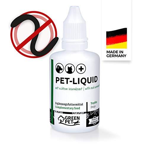 GreenPet 100% natürliches Wurm Pet-Liquid Tropfen Flüssig 50ml - Hunde, Katzen, Geflügel, Vögel, Kaninchen & Haustiere, Wermutkraut vor und bei Wurmbefall, ohne Chemie, Wurmkräuter für Magen & Darm