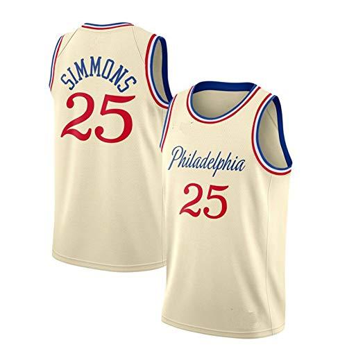 TTBBZ Camiseta NBA Baloncesto Chaleco Deportivo 76ers # 21 Embiid Simmons # 25 Ropa Deportiva de Secado rápido