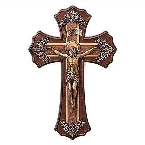Roman 10.25 Victorian Style Oak and Antique Gold Finish Crucifix Wall Cross