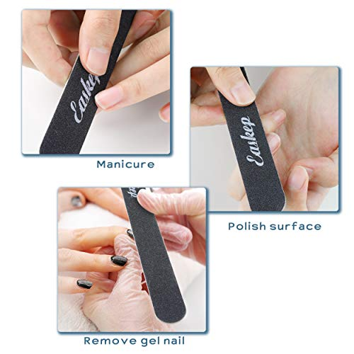 Nail Files, Easkep 12 pcs 100 180 Grit Professional Double Sided New Wood Material Black Nail File Bulk for Natural and acrylic nails Washable Manicure Tools Set Ultra Thin (12 pack)