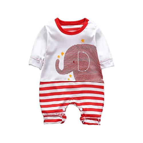 KUDICO Bébé Combinaison, Barboteuses éléphant à Imprimées à Manches Longues pour Garçons et FillesTenues Vêtements de Enfants de 0-12 Mois