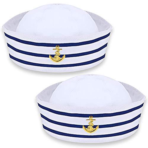 Sombrero Blanco de Capitán de Marinero, Sombreros de Fiesta para Adultos, Elegante...