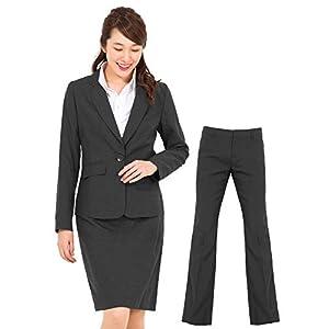 (アッドルージュ) スーツ レディース 3点セット タイトスカート パンツ ジャケット 洗濯可 デオドラント 消臭抗菌 【j5001】 1つボタン 9号 グレー