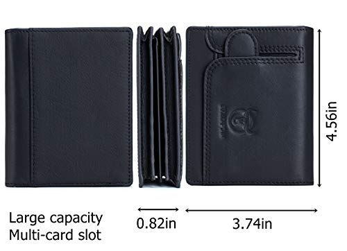BULLCAPTAIN Men RFID Blocking Bifold Wallet Genuine Leather Card Holder Wallets with 15 Card Slots 2
