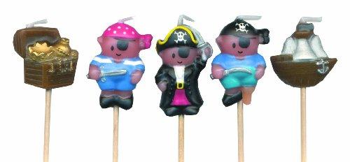 Piraten Mini Pick-Kerzen (Packung zu 5)