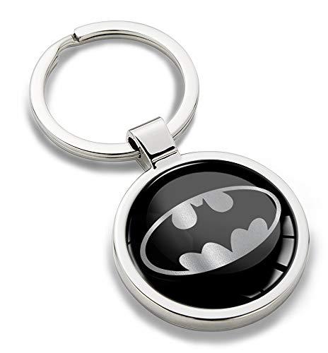 Biomar Labs® Nickel Métal Porte-clés Boite Cadeau Personnalisable Accessoires pour Homme et Femme Argente Noir Batman Comics Chauve-Souris Logo Emblème KK 266
